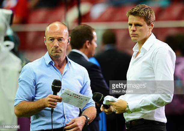 BBC pundit Alan Shearer and BBC TV presenter Jake Humphrey ahead of the UEFA EURO 2012 quarter final match between Czech Republic and Portugal at The...