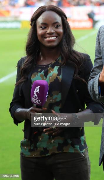 TV pundit Eniola Aluko during the UEFA Women's Euro 2017 Group D match at the Koning Willem II Stadion Tilburg PRESS ASSOCIATION Photo Picture date...