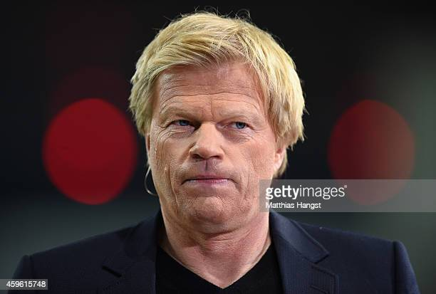 TV pundit Oliver Kahn looks on prior to the UEFA Champions League group C match between Bayer 04 Leverkusen and AS Monaco FC at BayArena on November...