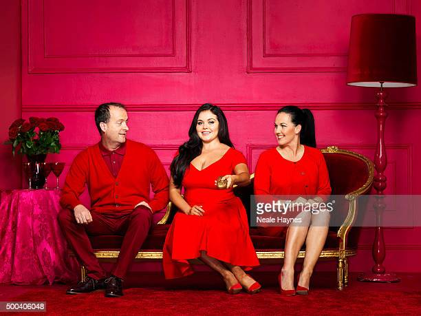 Pundit on Channel 4s GoggleBox Scarlett Moffatt is photographed with her parents Betty and Mark for the Daily Mail on August 18 2015 in London England