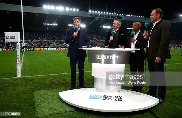 ITV pundits ahead of the 2015 Rugby World Cup Pool C match between New Zealand and Tonga at St James' Park on October 9 2015 in Newcastle upon Tyne...