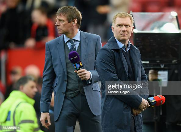 Pundits Stuart Pearce and Paul Scholes look on prior to the Emirates FA Cup sixth round match between Manchester United and West Ham United at Old...