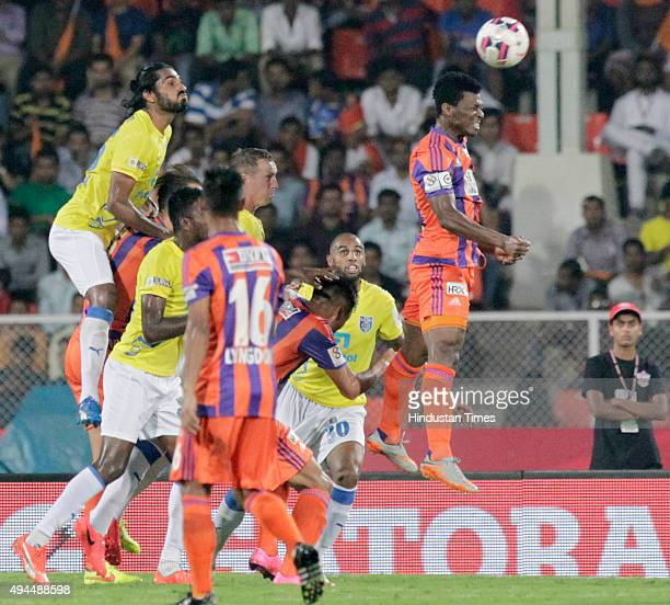 Pune City player Kalu Uche in action against Kerala Blasters FC during a match of Hero Indian Super League 2015 at Shree Chhatrapati Shivaji Sports...