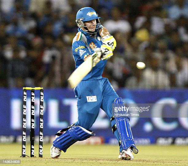 Pune Warriors batsman Steven Smith plays a shot during IPL 5 T20 cricket match played between Deccan Chargers and Pune Warriors at Barbati Stadium on...