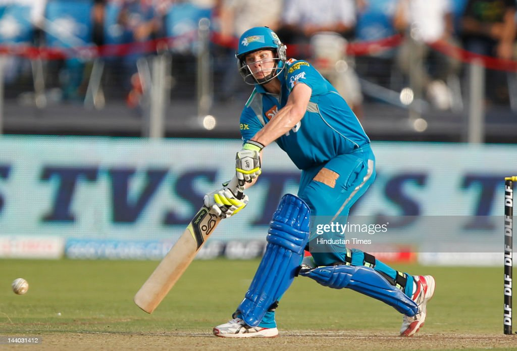 Pune Warriors batsman Steven Smith plays a shot during the IPL 5 T20 match between Pune Warriors and Rajasthan Royals at Subrata Roy Sahara Stadium on May8, 2012 in Pune, India. Chasing the target of 126 runs Rajasthan Royals win the match by wicket and 22 balls to go.