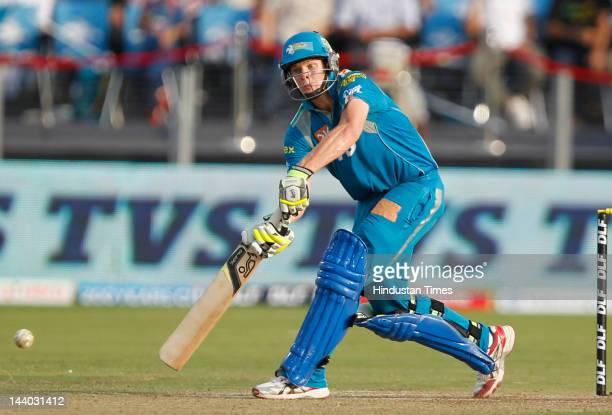 Pune Warriors batsman Steven Smith plays a shot during the IPL 5 T20 match between Pune Warriors and Rajasthan Royals at Subrata Roy Sahara Stadium...
