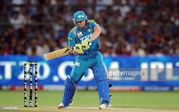 Pune Warriors batsman Steven Smith plays a shot during the IPL Twenty20 match between Rajasthan Royals and Pune Warriors at the Swai Mansingh stadium...