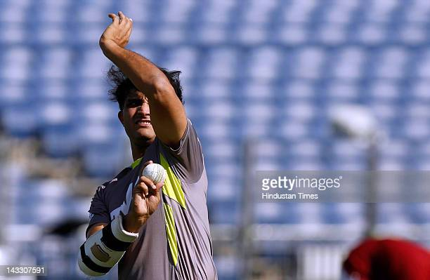Pune Warriors captain Sourav Ganguly bowls during a practice session at Subrata Roy Sahara stadium on April 23 2012 in Pune India Pune Warriors will...