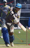 Pune Warriors captain Sourav Ganguly plays a shot during a practice session at Subrata Roy Sahara stadium on April 23 2012 in Pune India Pune...