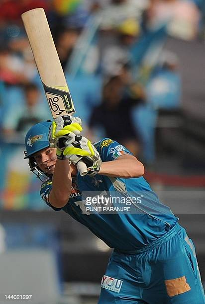 Pune Warriors India batsman Steven Smith plays a shot during the IPL Twenty20 cricket match between Pune Warriors India and Rajasthan Royals at The...