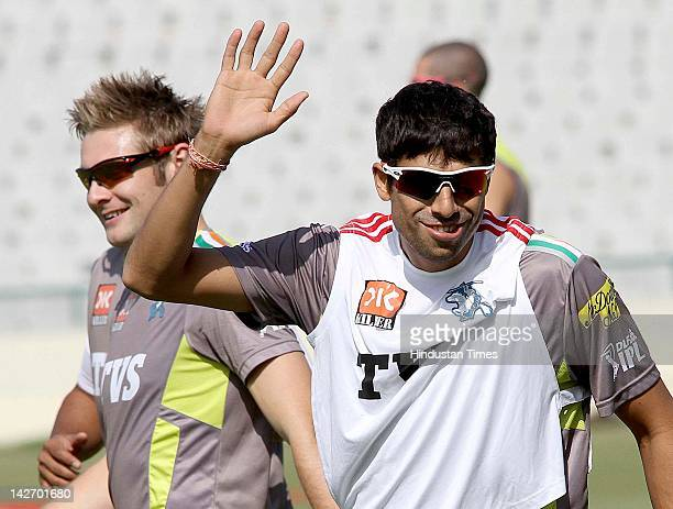 Pune Warriors player Ashish Nehra during the practicing session at PCA stadium on April 11 2012 in Mohali India Pune Warriors will play Kings XI...
