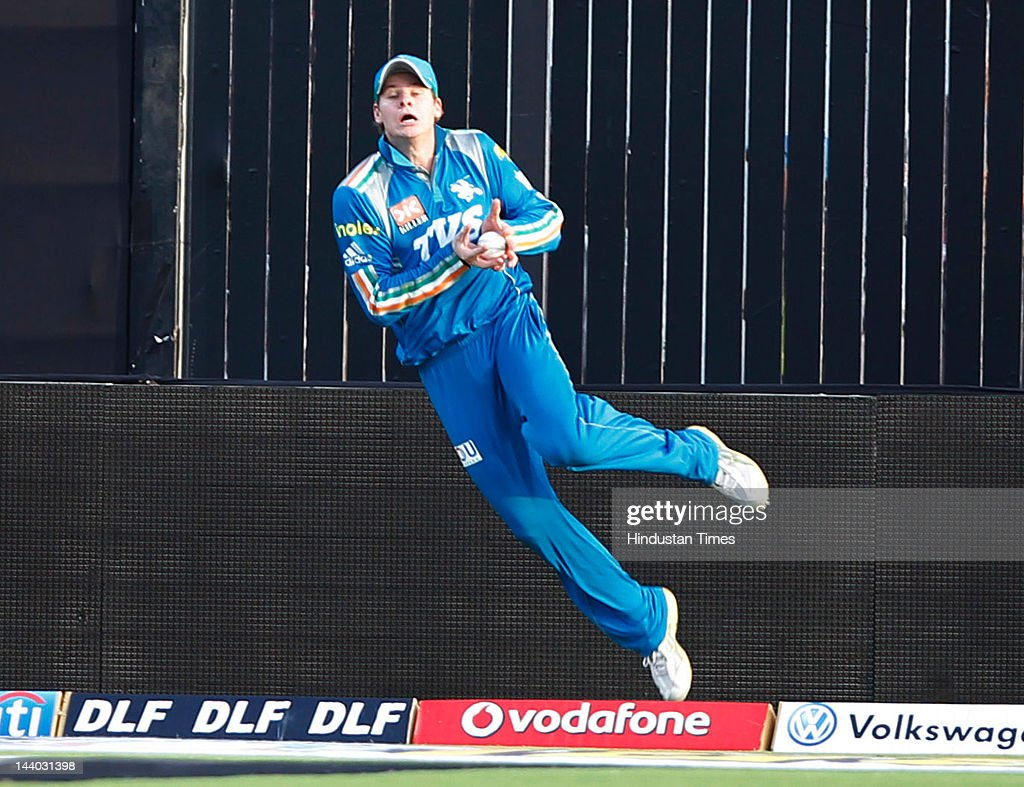 Pune Warriors player Steven Smith takes catch of Ajinkya Rahanel during the IPL 5 T20 match between Pune Warriors and Rajasthan Royals at Subrata Roy Sahara Stadium on May8, 2012 in Pune, India. Chasing the target of 126 runs Rajasthan Royals win the match by wicket and 22 balls to go.
