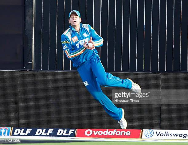 Pune Warriors player Steven Smith takes catch of Ajinkya Rahanel during the IPL 5 T20 match between Pune Warriors and Rajasthan Royals at Subrata Roy...