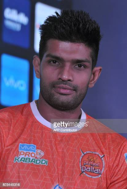 Puneri Paltan Team kabaddi captain Deepak Hooda poses during an event for the fifth edition of the Pro Kabaddi League 2017 in Hyderabad on July 27...