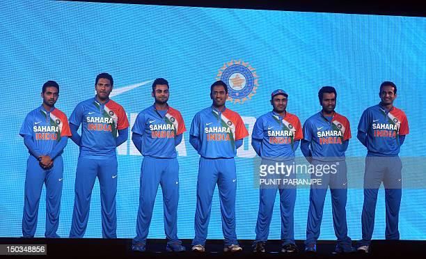 Indian team cricket players Ajinkya Rahane Yuvraj Singh Virat Kohli captain Mahendra Singh Dhoni Virender Sehwag Rohit Sharma and Irfan Pathan pose...