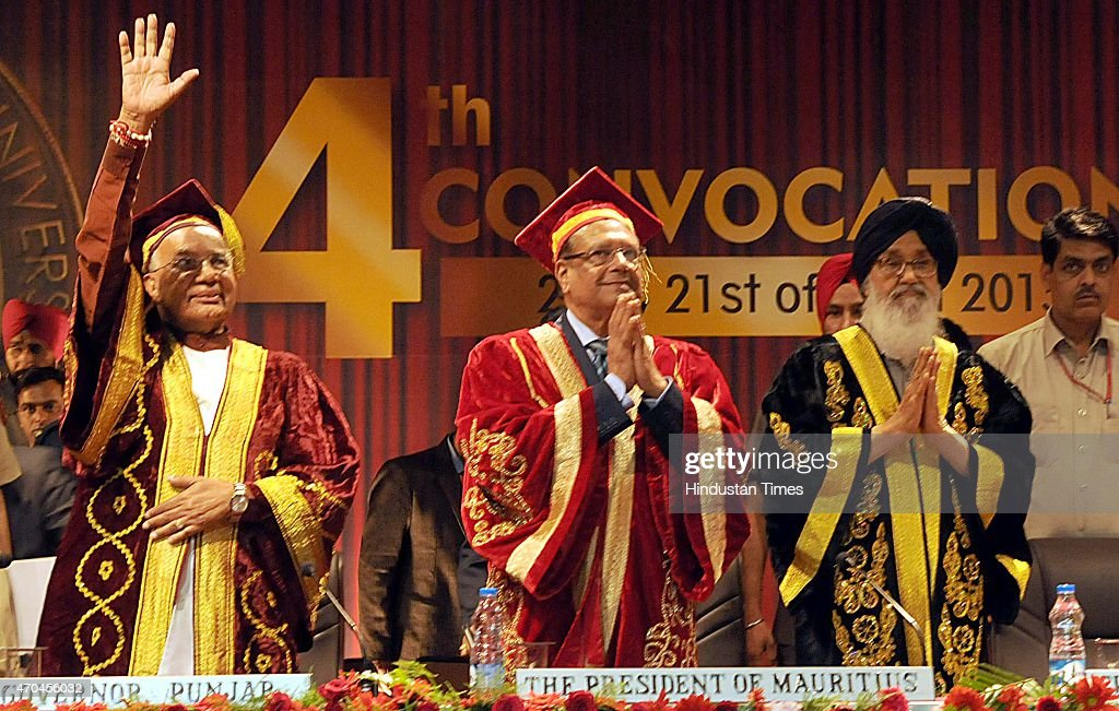 Punjab and Haryana Governor Kaptan Singh Solanki, Mauritius President Rajkeswur Purryag and Punjab Chief Minister Parkash Singh Badal greet students during the 4th convocation at Lovely Professional University on April 20, 2015 in Jalandhar, India.