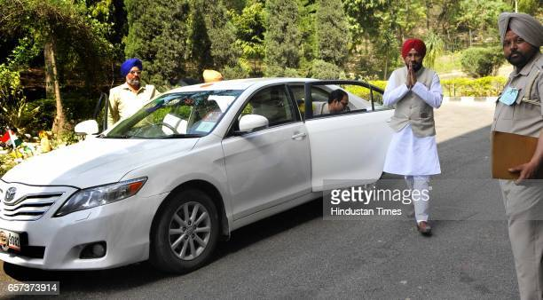 Punjab Cabinet Minister Charanjit Singh Channi coming without red beacon car on the first day of Punjab Vidhan Sabha session on March 24 2017 in...