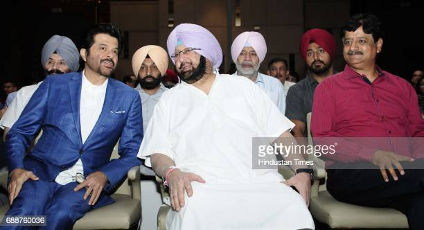 Punjab Chief Minister Capt Amarinder Singh meeting with Anil Kapoor during HT Youth Forum on May 26 2017 in Chandigarh India