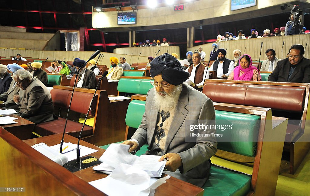Punjab Chief Minister Parkash Singh Badal and other members during the inaugural day of budget session at Punjab assembly premises on March 3, 2014 in Chandigarh, India.