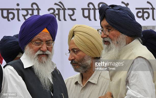 Punjab Chief Minister Prakash Singh Badal and Akal Takht Chief Giani Gurbachan Singh during the dharna protest against the acquittal of Congress...