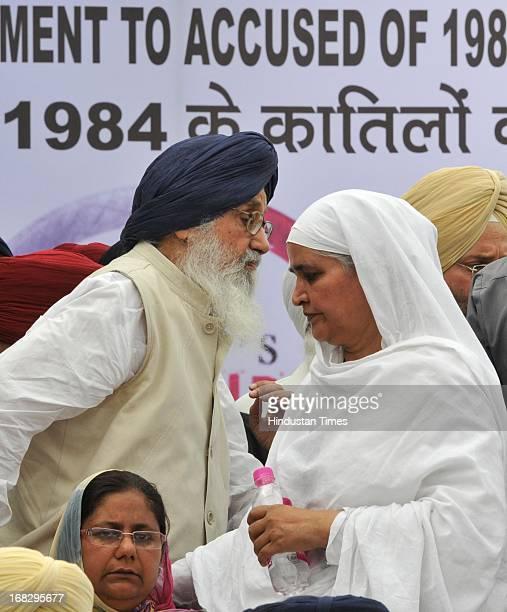 Punjab Chief Minister Prakash Singh Badal and Bibi Jagir Kaur during the dharna protest against the acquittal of Congress politician Sajjan Kumar at...