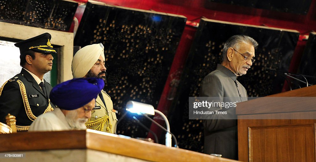 Punjab Governor Shivraj V Patil and assembly speaker Charanjit Sing Atwal while going to address members of state assembly during the inaugural day of budget session at Punjab assembly premises on March 3, 2014 in Chandigarh, India.