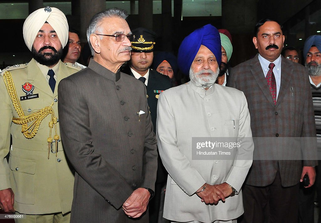 Punjab Governor Shivraj V Patil and assembly speaker Charanjit Sing Atwal during the inaugural day of budget session at Punjab assembly premises on March 3, 2014 in Chandigarh, India.