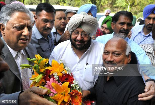 Punjab protem speaker Rana KP Singh Brahm Mohindra welcome to CM Capt Amrinder Singh at first day Punjab Vidhan Sabha on March 24 2017 in Chandigarh...