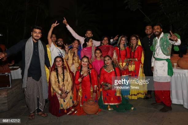 Punjabi artists during the Mela Phulkari at India Habitat Centre on April 9 2017 in New Delhi India Mela Phulkari saw attendees groove to Bhangra...