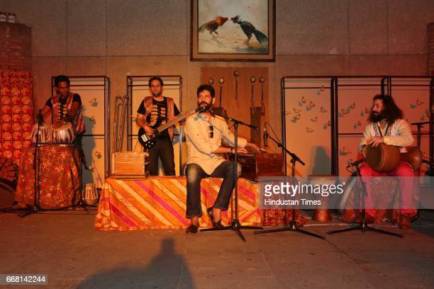 Punjabi singer Jasbir Jassi during the Mela Phulkari at India Habitat Centre on April 9 2017 in New Delhi India Mela Phulkari saw attendees groove to...