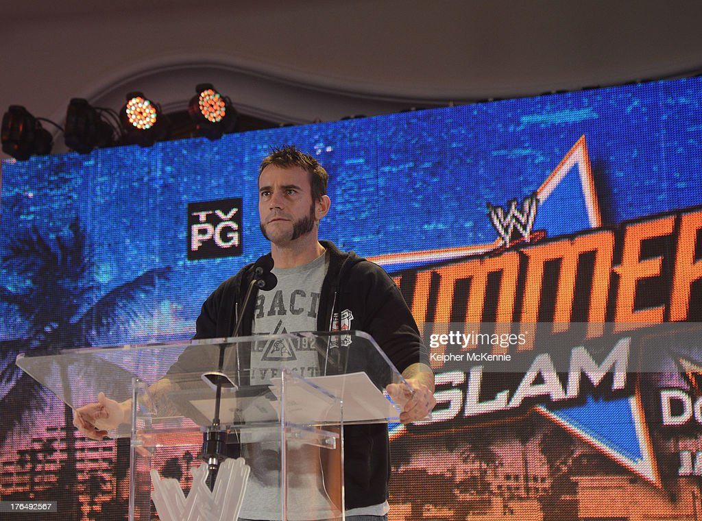 CM Punk arrives to the WWE SummerSlam Press Conference at Beverly Hills Hotel on August 13, 2013 in Beverly Hills, California.