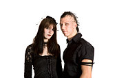 punk fashion girl and boy in black clothes