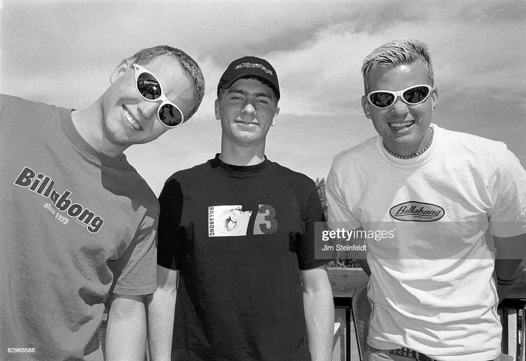 Punk Rock band Blink 182 pose for a portrait backstage at the Board Aid Benefit in Big Bear California on March 15 1997