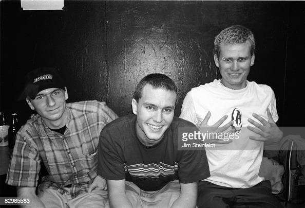 Punk Rock band Blink 182 pose for a portrait in their dressing room at the Whisky A Go Go in Los Angeles California on October 8 1996