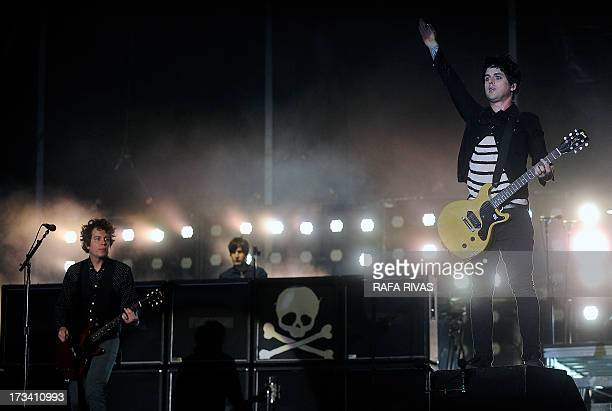 US punk rock band Green Day Billie Joe Armstrong and Jason White perform during the Bilbao BBk Live music festival on July 13 in the Northern Spanish...
