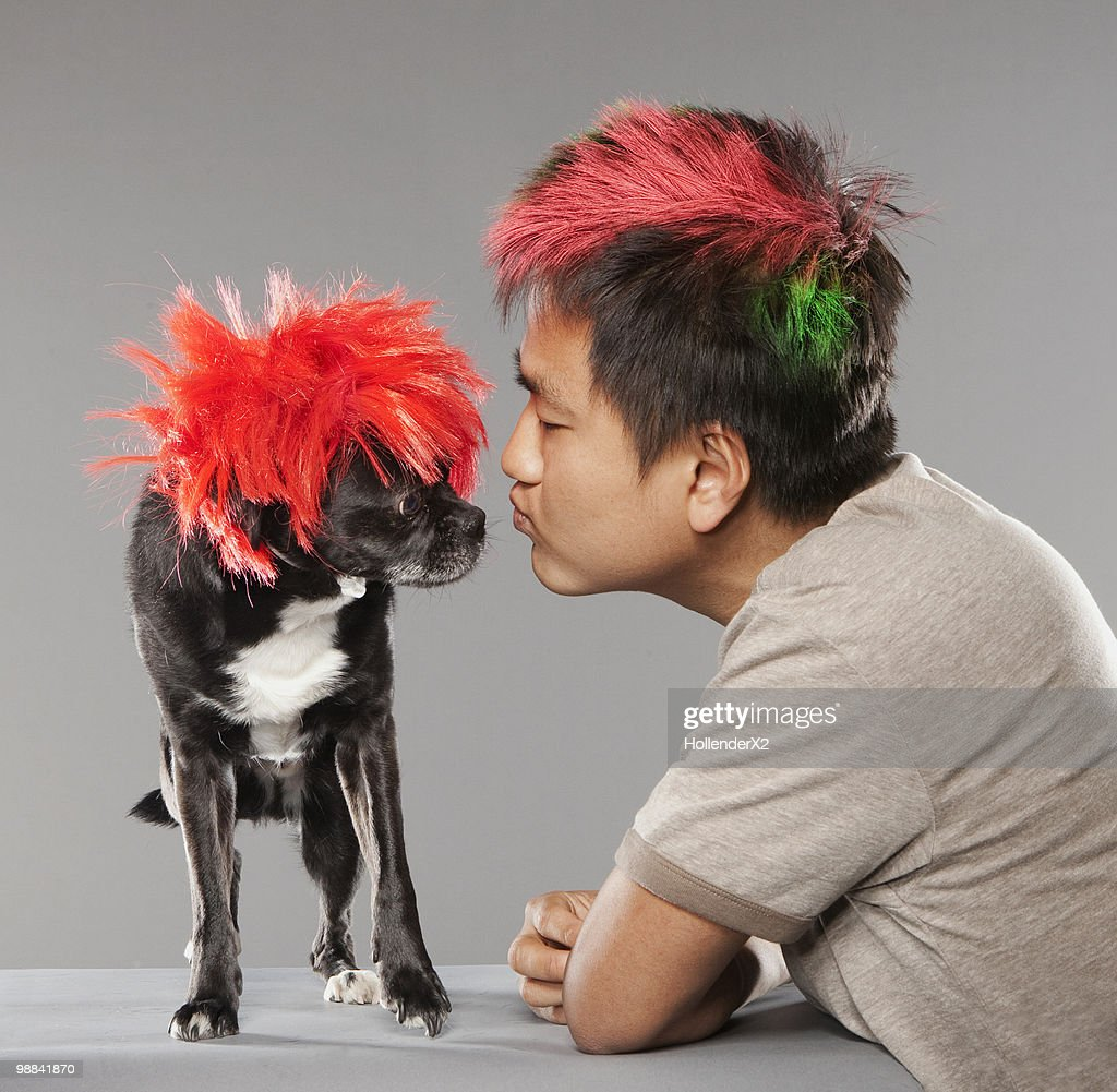 punk rock man and dog : Stock Photo