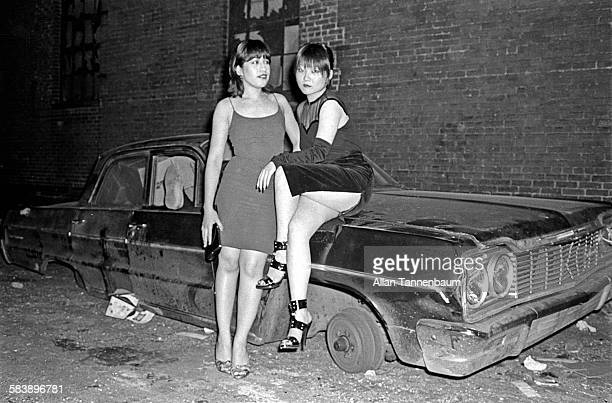 Punk scenemakers Anya and Sylvia in the empty Bowery lot next to CBGB New York New York May 28 1977