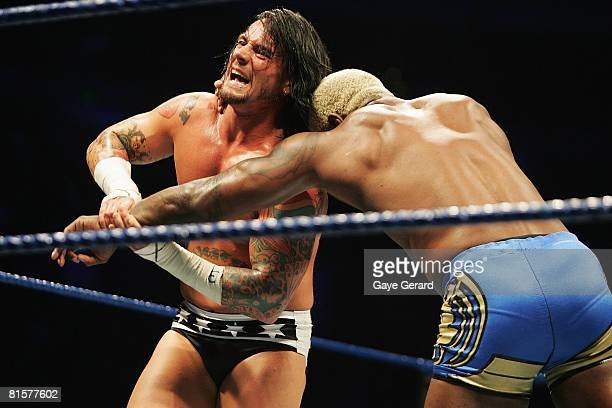Punk wrestles Shelton Benjamin during WWE Smackdown at Acer Arena on June 15 2008 in Sydney Australia