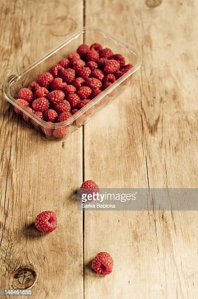Punnet of fresh raspberries