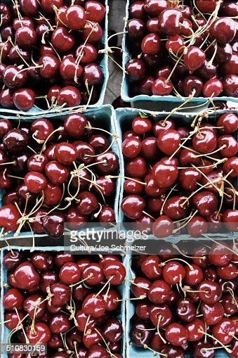 Punnets of cherries, close up