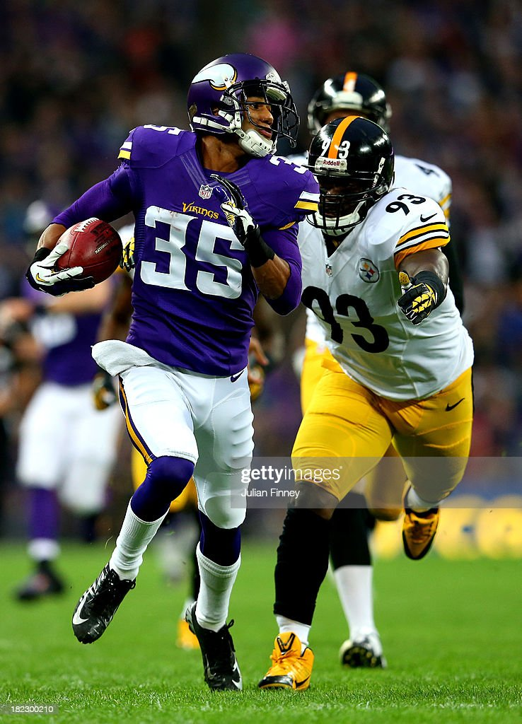 Punt returner Marcus Sherels #35 of the Minnesota Vikings is chased down by outside linebacker Jason Worilds #93 of the Pittsburgh Steelers during the NFL International Series game between Pittsburgh Steelers and Minnesota Vikings at Wembley Stadium on September 29, 2013 in London, England.