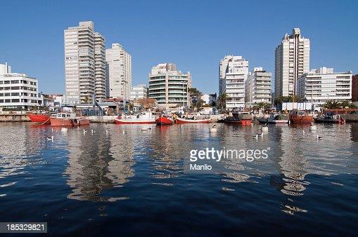 Punta del Este - Fishermen boats and downtown buildings