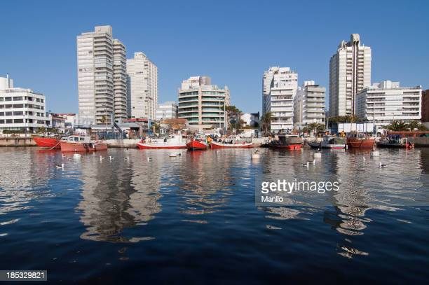 Punta del Este - Fishermen boats and downtown buildings