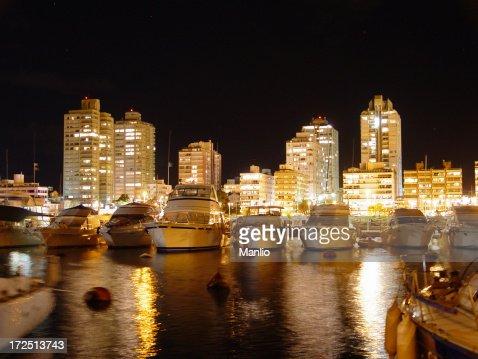 Punta del Este Marina by night