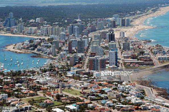 This 2006 aerial photograph shows Punta del Este one of the most important resorts in Latin America with its River Plate seaside and the Atlantic one...