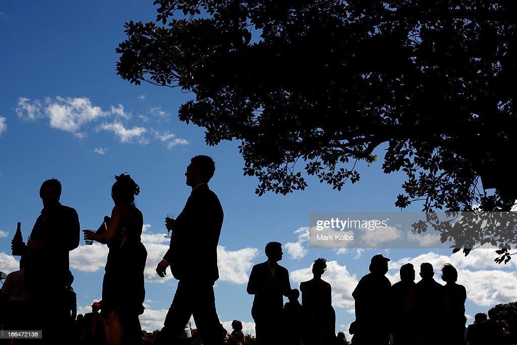 Punter are seen on Australian Derby Day at Royal Randwick Racecourse on April 13, 2013 in Sydney, Australia.