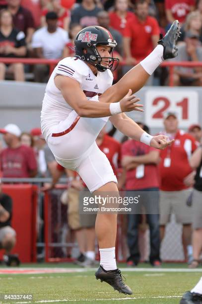Punter Cody Grace of the Arkansas State Red Wolves in action against the Nebraska Cornhuskers at Memorial Stadium on September 2 2017 in Lincoln...