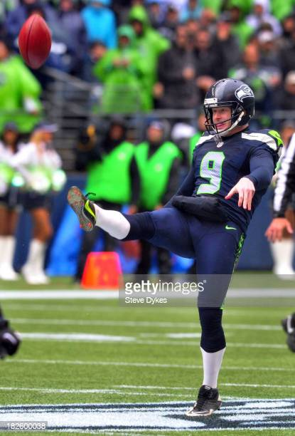 Punter Jon Ryan of the Seattle Seahawks punts the ball during the second quarter of the game against the Jacksonville Jaguars at CenturyLink Field on...