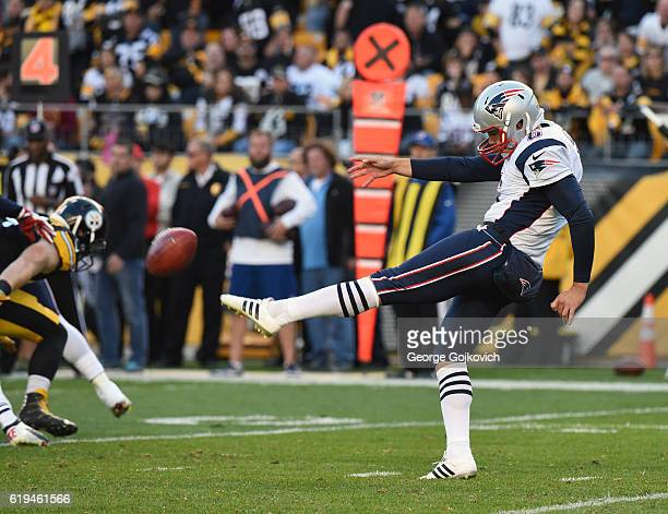 Punter Ryan Allen of the New England Patriots punts during a game against the Pittsburgh Steelers at Heinz Field on October 23 2016 in Pittsburgh...