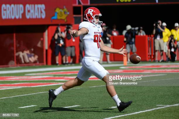 Punter Ryan Anderson of the Rutgers Scarlet Knights kicks against the Nebraska Cornhuskers at Memorial Stadium on September 23 2017 in Lincoln...
